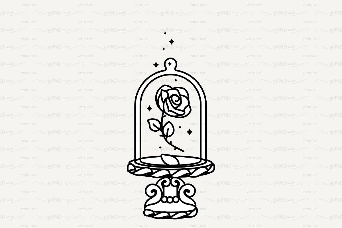 ♡ vector Cute rose under flask glass