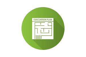 Evacuation plan flat design long shadow glyph icon