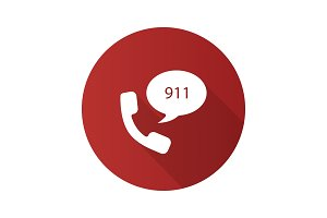 Emergency calling service flat design long shadow glyph icon