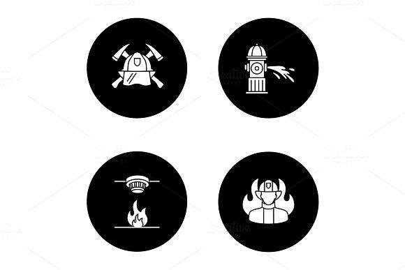 Firefighting Glyph Icons Set