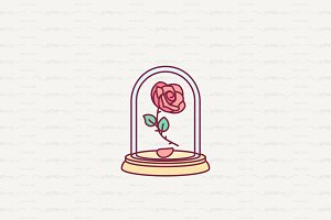 ♥ vector Cute rose under flask glass