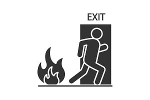 Fire emergency exit door with human glyph icon