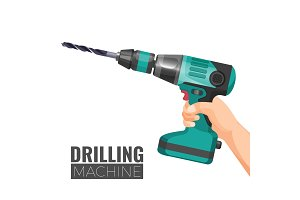 Hand drill or drilling machine fitted cutting or driving tool