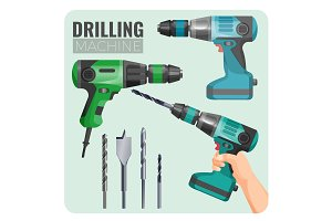 Drilling machine vector illustration of electro work tool