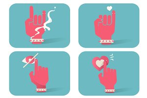 Illustration of hand gesture icons