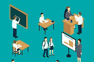 Teachers And Students Isometric Set