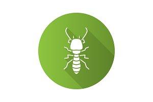 Termite flat design long shadow glyph icon