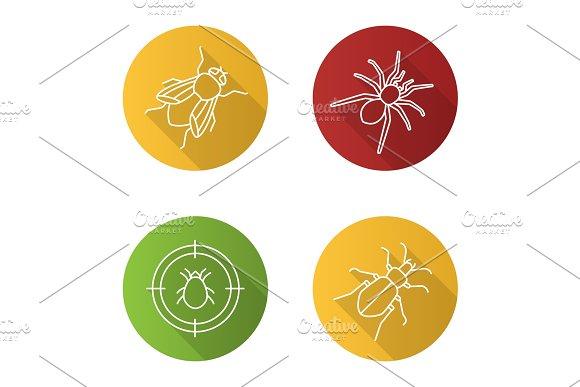 Pest Control Flat Linear Long Shadow Icons Set