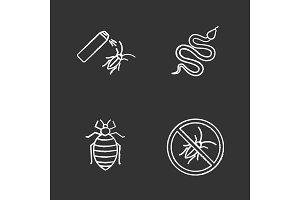 Pest control chalk icons set