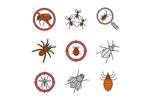 Pest control color icons set
