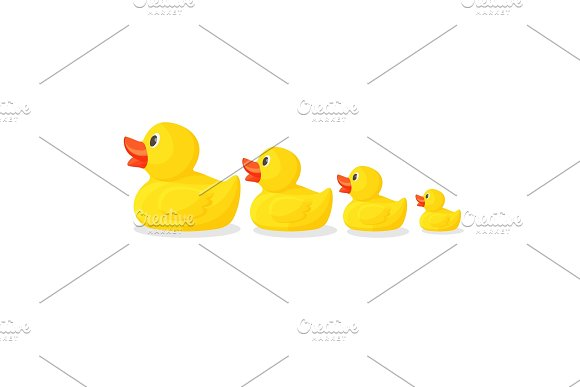 Adorable Rubber Ducks In Row From Big To Small