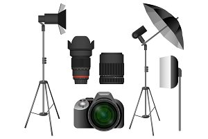 Modern camera with lenses and lighting equipment set