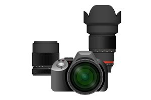 Compact modern professional camera with spare lenses set