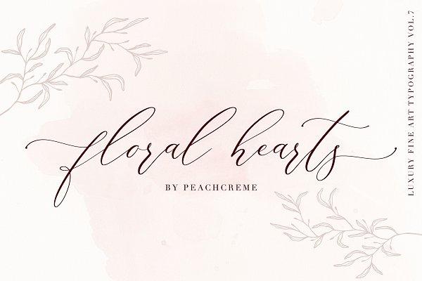 Floral Hearts-Luxury Script Font