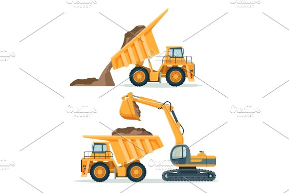 Dump Truck With Body Full Of Soil And Modern Excavator