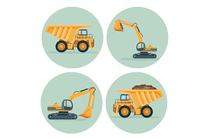 Modern dump truck and functional excavator emblems set