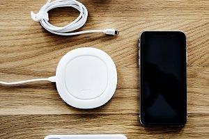 Flatlay of smartphone accessories