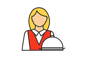 Waitress color icon