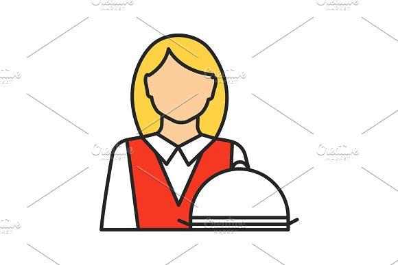 Waitress Color Icon