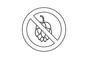Forbidden sign with hop cone linear icon