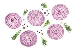 Sliced red onion rings with rosemary and peppercorns isolated on white background. Top view. Flat lay pattern