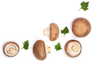 Fresh champignon mushrooms with parsley isolated on white background with copy space for your text. Top view. Flat lay