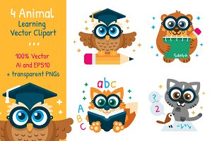 4 Animal Learning Vector Clipart