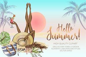 Summer beach style clip-art