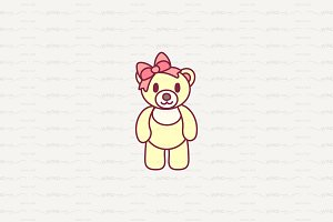 ♥ vector cute little teddy bear