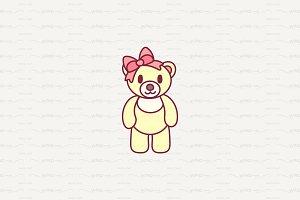♥ vector cute little teddy bear