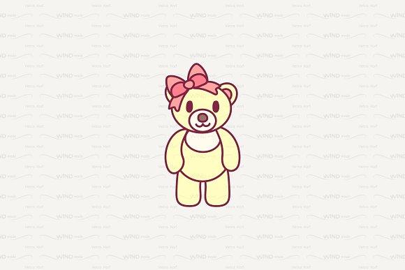Vector Cute Little Teddy Bear