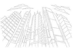 Big city skyscraper sketch buildings. Gray line skeleton strokes Modern architecture landscape. Hand drawn vector stock illustration.