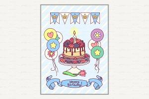 ♥ vector Happy Birthday card