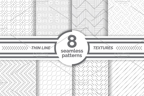 Modern Thin Line Seamless Patterns