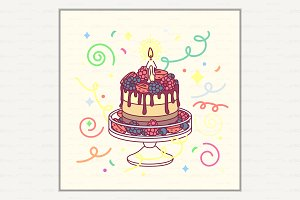 ♥ vector Happy Birthday card