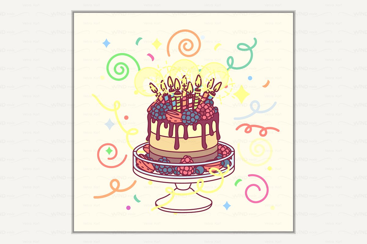 Vector Happy Birthday Card Templates Creative Market