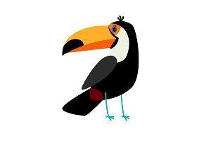 Toucan black cartoon bird icon
