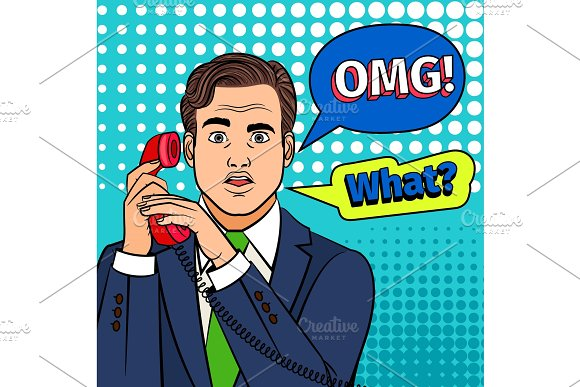 Pop art surprised man with phone