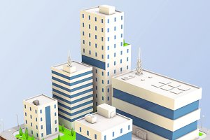 Low Poly City Block Factory Building