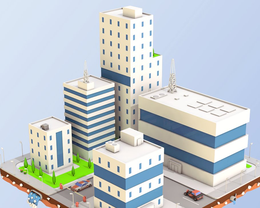 Low Poly City Block Factory Building in Architecture