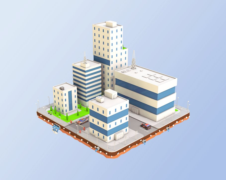 Low Poly City Block Factory Building in Architecture - product preview 1