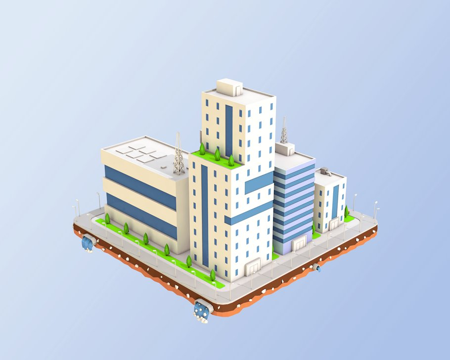 Low Poly City Block Factory Building in Architecture - product preview 2