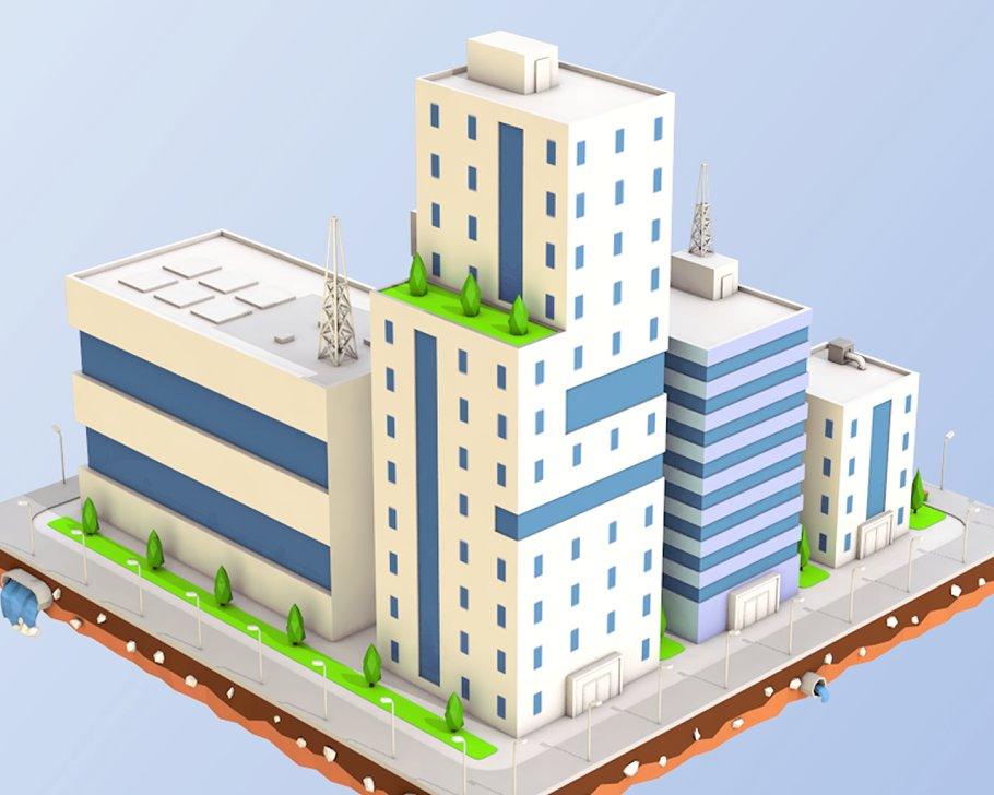 Low Poly City Block Factory Building in Architecture - product preview 3