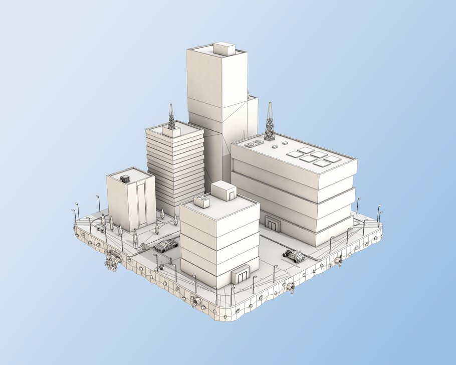 Low Poly City Block Factory Building in Architecture - product preview 4