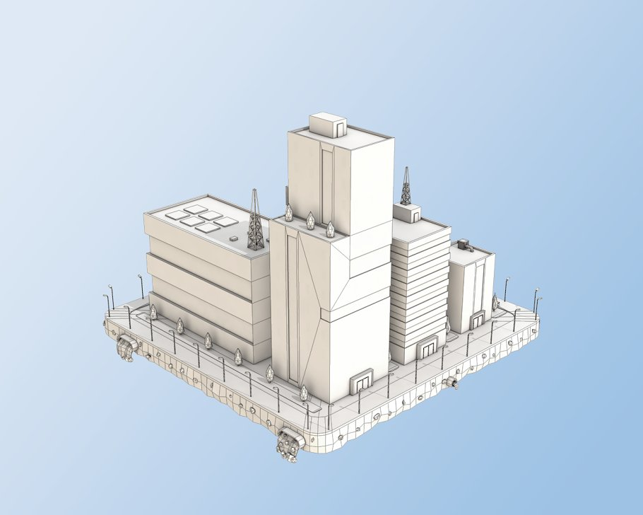 Low Poly City Block Factory Building in Architecture - product preview 5