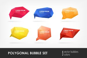 Abstract polygonal speech bubbles