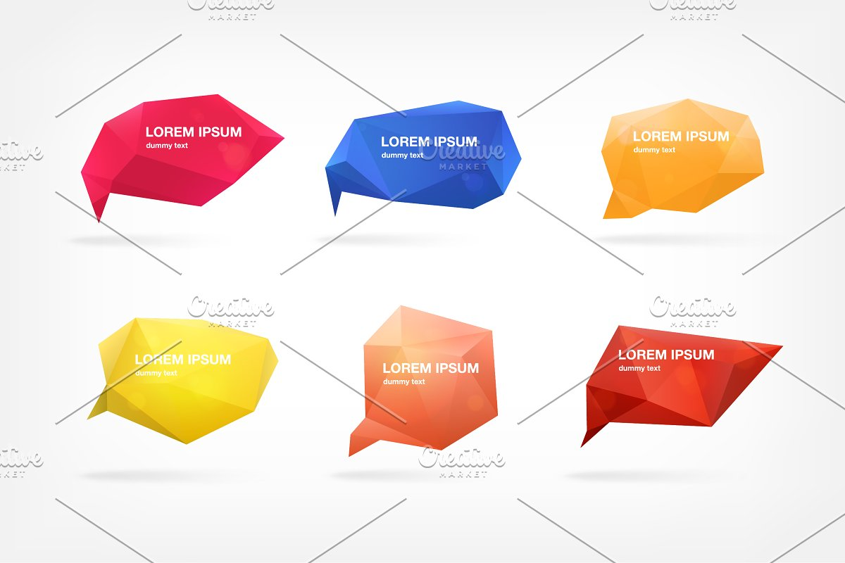 Abstract polygonal speech bubbles in Illustrations - product preview 1