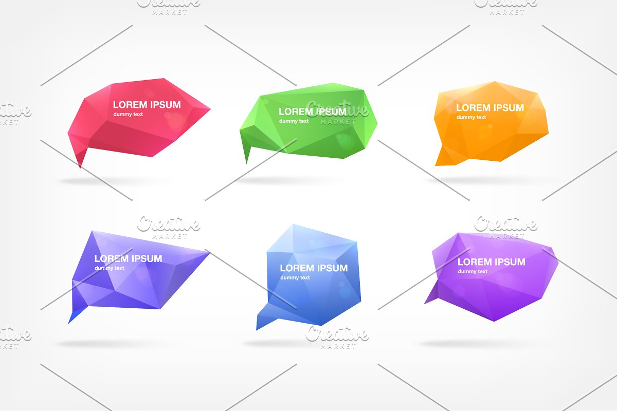 Abstract polygonal speech bubbles in Illustrations - product preview 2