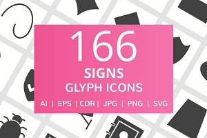 166 Signs Glyph Icons