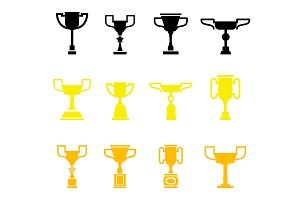 Vector black trophy and awards icons set.